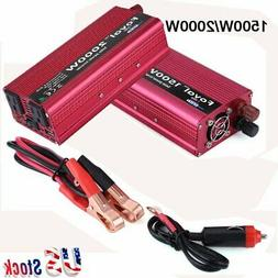 1500/2000W Portable Car LED Power Inverter WATT DC 12V to AC