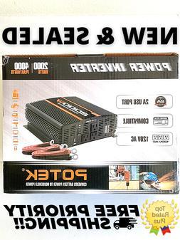 POTEK 2000W Power Inverter 12V DC to 110V AC Car inverter wi
