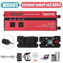 Alloet 2000W 4 USB LED Car Power Inverter DC 12V/24V To AC 1