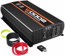 POTEK 5000W Power Inverter 4 AC Outlets 12V DC to 110V AC Ca