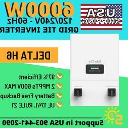 Delta H6 6000W Grid-Tied Inverter NEW Battery-less Backup UL