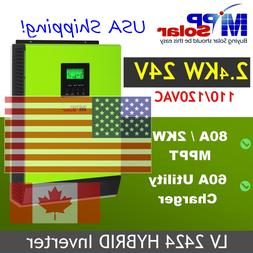 USA Support.. Hybrid PIP LV2424 2400W 24V 120V/240V Inverter