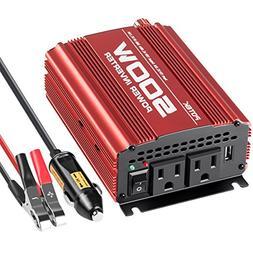 POTEK 500W Car Power Inverter DC 12V to AC 110V with 2 AC ou