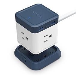 BESTEK USB Power Strip Travel Cube 3-Outlet and 4 USB Chargi