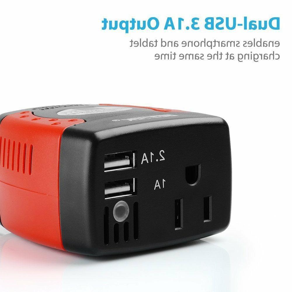 BESTEK 150W Car Power Inverter AC 110V Short Circuit Protection