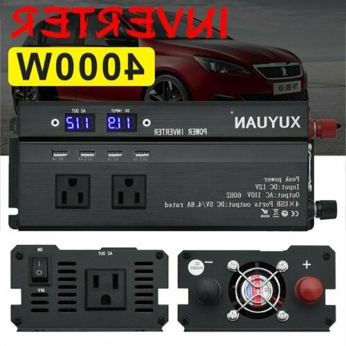 4000W/5000W Car Power Inverter DC 12V To AC 110/220V Charger