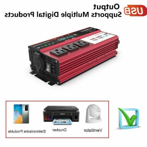 5000W Car 12V 110V Converter LCD Charger