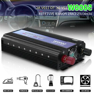 5000W Car Power Inverter Peak 12V To 110V AC Outlets RV Home