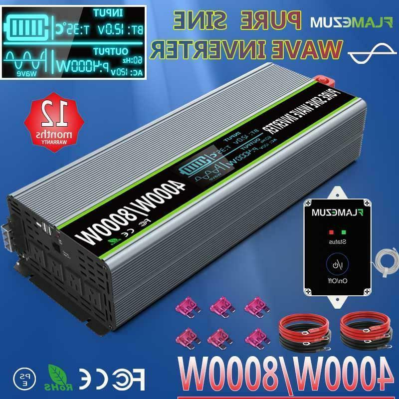 Car Power Inverter DC 12V To AC 110V 120V 4000W 8000W Pure S