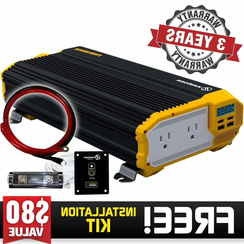 KRIEGER 2000W 12V Power Inverter Dual 110V AC outlets and Du