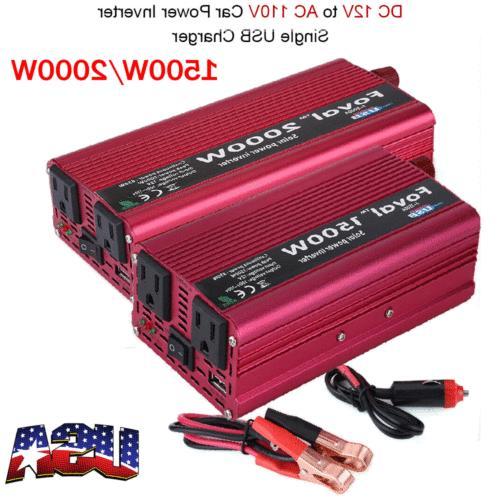 New 1500/2000W Portable Car LED Power Inverter WATT DC12V to