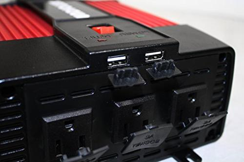 AUDIOTEK Pi2500 DC AC Pro Duty Inverters MAX With 3x AC Outlet USB Output For Charging / / Latop / Smart Phones Consoles / DJ