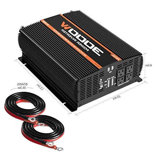 POTEK 3000W 4 AC Car Inverter 2 USB