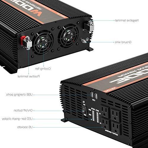 POTEK 3000W Inverter 4 12V to Car USB Port
