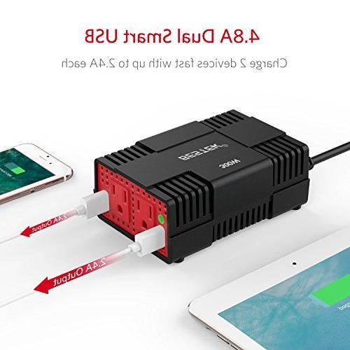 BESTEK 300W Power DC to AC Car Inverter with 4.8A Dual USB Port