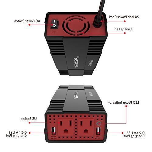 BESTEK 300W Power DC AC Inverter 4.8A Charging Port