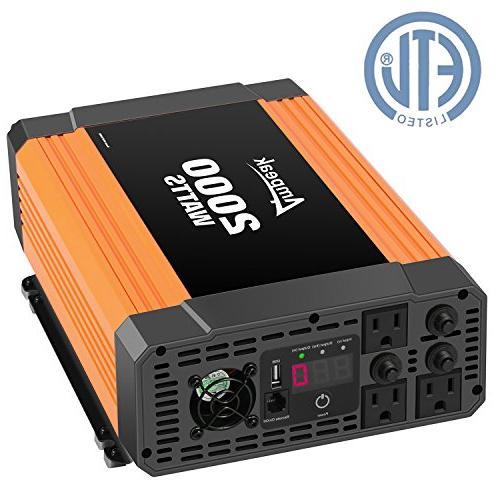 Ampeak 2000W Power Inverter 3 AC Outlets DC 12V to 110V AC C
