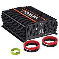 POTEK 3000W Power Inverter 4 AC Outlets DC 12V to 110V AC Ca