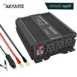 ERAYAK 800W Power Inverter DC 12V to AC 110V with 3 AC Outle