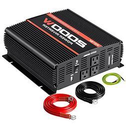 POTEK 2000W Power Inverter Three AC Outlets 12V DC to 110V A
