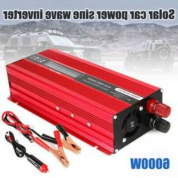 Solar 6000W Car Power Inverter DC 12V to AC 110V Pure Sine W