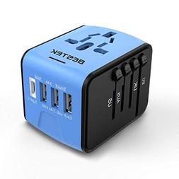 BESTEK Universal Travel Adapter with USB C Charger, All in O