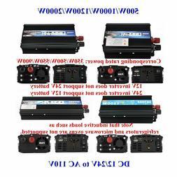 US Portable Car Power Inverter WATT DC 12V/24V to AC 110V Ch